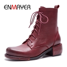 ENMAYER Women Boots  2018 British Vintage Classic Genuine Boots Female Motorcycle Women's Shoes ZYL935