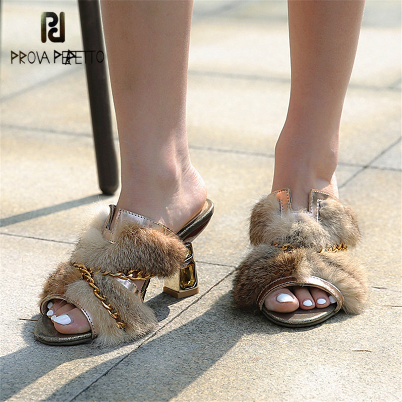 Prova Perfetto Luxury Mink Fur Slippers Summer Gold Chain High Heel Slipper Women Sweet Princess Outside Slides Sexy Sandals
