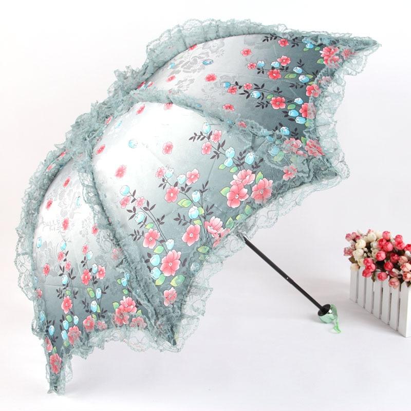 Dantel Jakarlı Şemsiye Uv Koruma Şemsiye Üç Katlanır Güneş - Ev Eşyaları - Fotoğraf 1