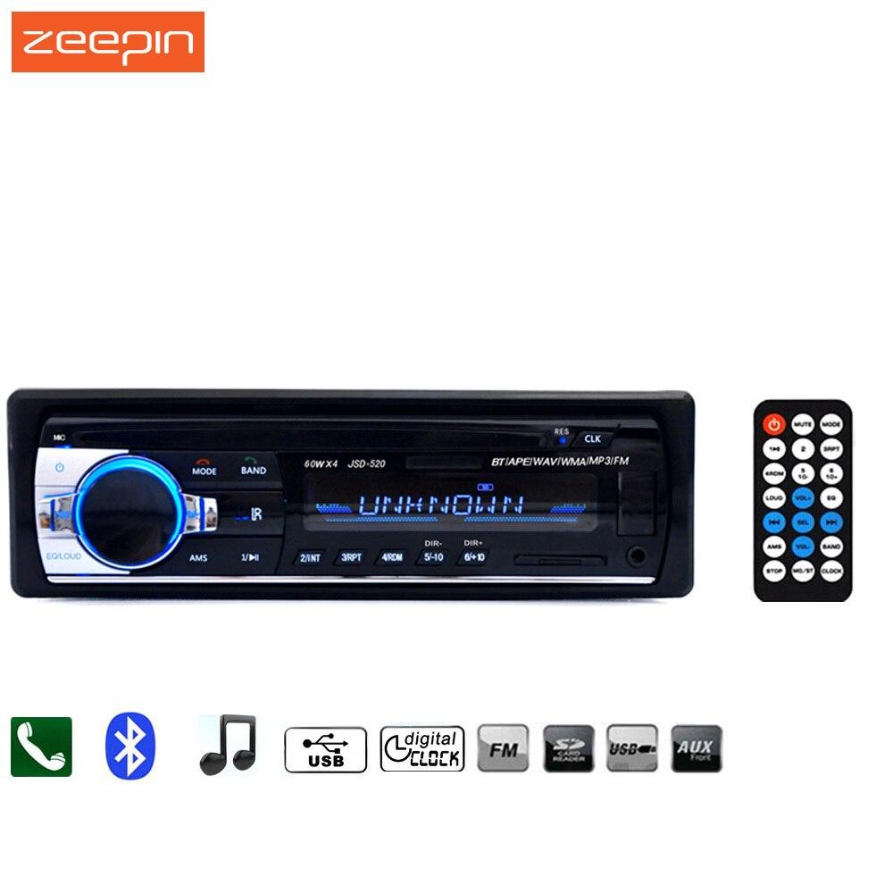 imágenes para Zeepin JSD-520 de Radio de Coche 12 V Bluetooth V2.0 Car Audio Estéreo En el tablero de 1 Din FM Receptor de Entrada Aux USB SD MMC MP3 WMA JSD 520