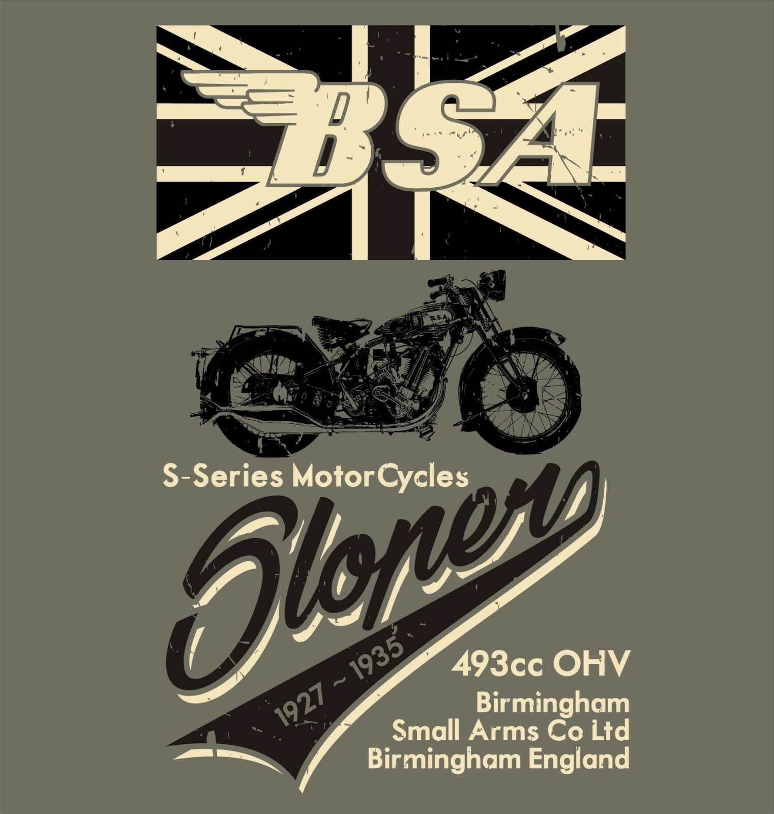 <font><b>BSA</b></font> BIKER T <font><b>SHIRT</b></font> Chopper Bobber Vintage Retro Distressed design tee Apparel image