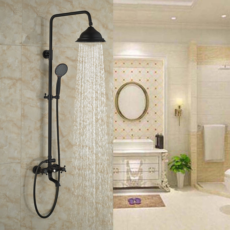 Contemporary Oil Rubbed Bronze Shower Faucet Bath Tub Rainfall Shower With Hand Shower Double Handles