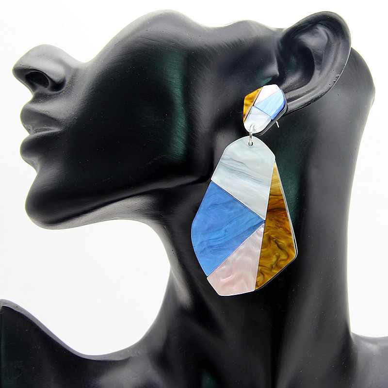 Statement 2018 ZA Big Acrylic Multi Color Geometric Drop Earrings For Women Exaggerated Large Irregular Pendant Earrings Jewelry in Drop Earrings from Jewelry Accessories