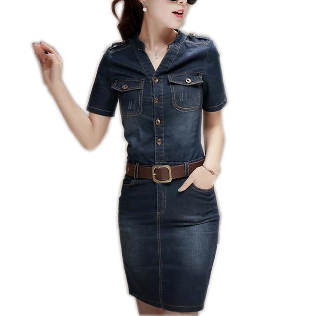 Women Denim Dress New 2017 Summer Dress Vestidos Dress Vestidos Jeans Party Dresses Plus Size Pockets Patchwork with belt