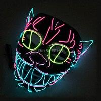 Funky Do Partido Adereços Levou Fio Gatinho Máscara fluorescente Luzes Do Feriado Luz Fria Luminosa Animais Gato Bonito Rosto Máscara de Véspera de Natal