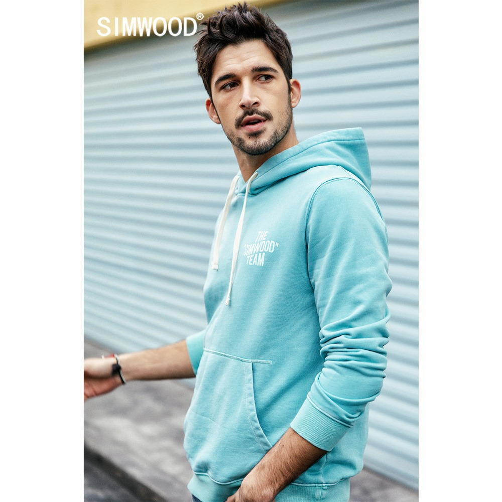 SIMWOOD 2019 Autumn New Hoodie Men 100% Cotton Letter Print Hooded Sweatshirts Male Plus Size Casual Pullovers 190139
