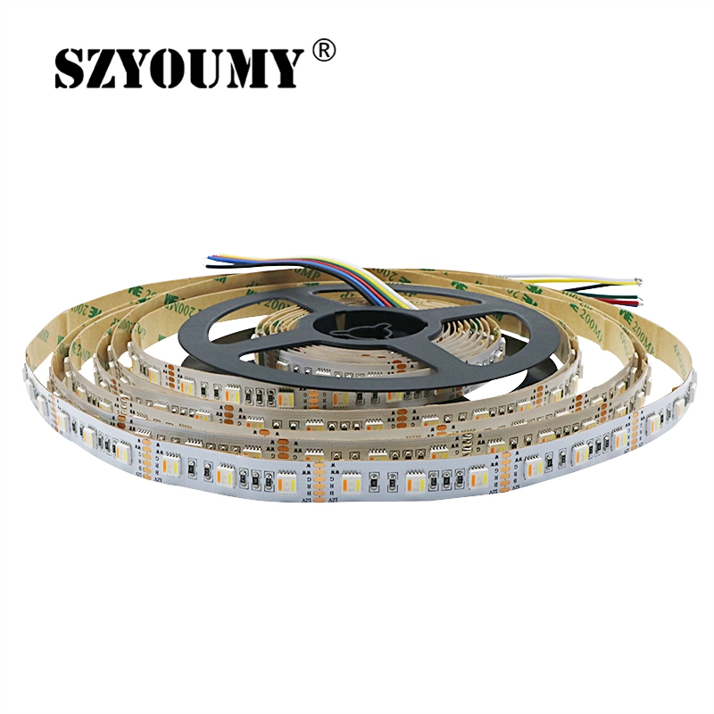 Led Strips Lights & Lighting Strong-Willed Szyoumy New Arrivals Rgb+cct Led Strip 5050 60led/meter 12volt 5 In 1 Chips Led Cw+rgb+ww Flexible Strip White Pcb