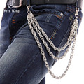 3 Strands Silver Metal Thick Combo Link Heavy Trucker Biker Wallet Chain New Fashion Hip Hop Trousers Jeans Chain Free King J35