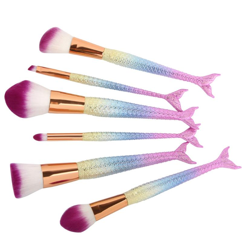 6PCS Fashion Mermaid Makeup Brushes Synthetic Hair font b Power b font Foundation Cosmetic Brushes font