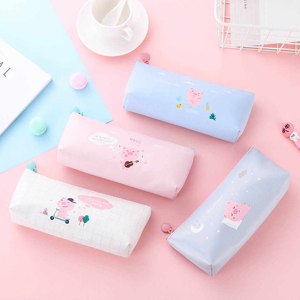 Pen Bags Small Pig Chic Canvas Pen Box Pencil Case Bag Storage Pouch Stationery School Student Pens Storage Pouch &