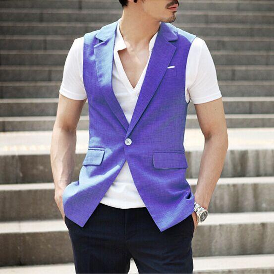 2015 Chegada Nova! Men Suit Vest Slim Vestido Coletes Embutida Lazer Colete Casual Jacket Negócios Tops one Botões