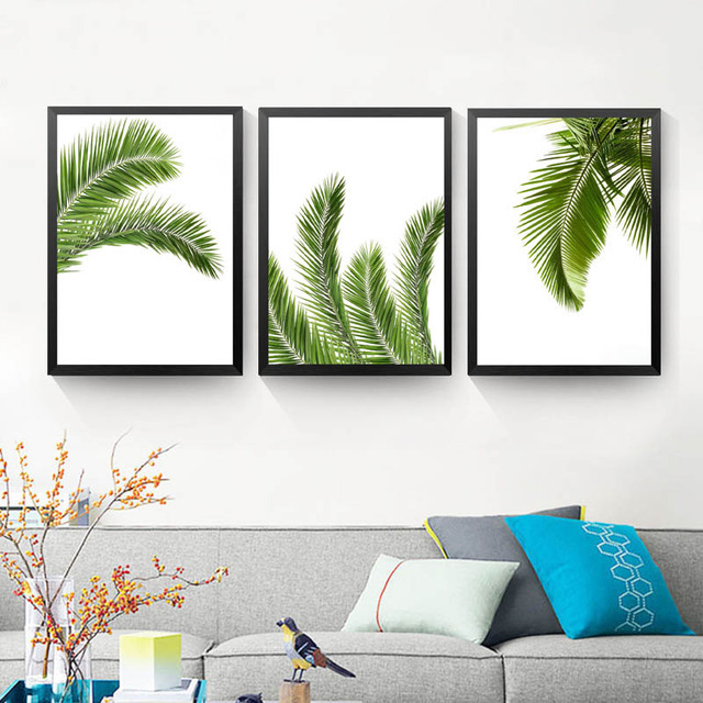 Frameless Palm Leaf Canvas Poster Prints Tropical Plant On Wall Paintings Modern Home Decor