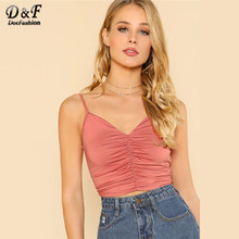 Dotfashion Roze Backless Gesmokt Voor Crop Cami Top Womens 2019 Zomer Casual Vest Tops Kleding V-hals Sexy Slim Fit hemdje(China)