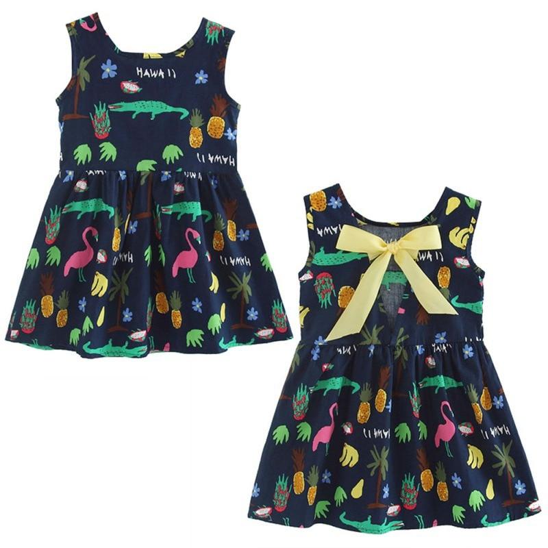 Летнее платье для девочек с рисунком без рукавов с принтом из хлопка и детской одежды