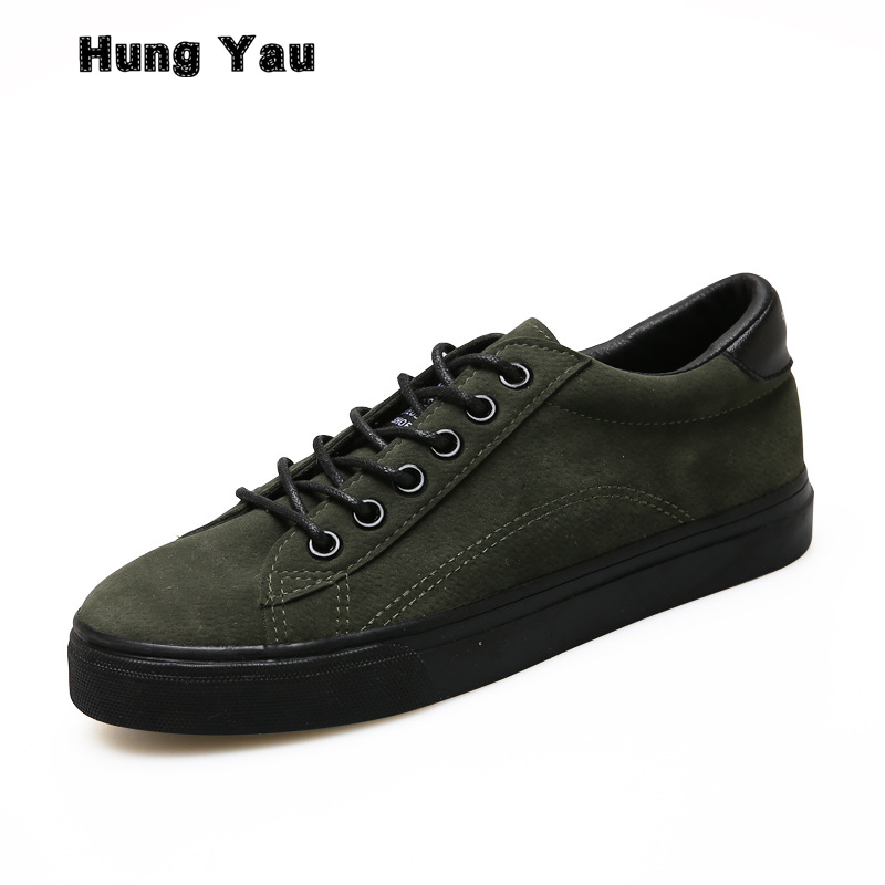 Hung Yau Women Shoes Leather Army Green Casual Sneakers for Female Black Shoes Zapatillas Deportivas Mujer Tenis Feminino Size 8 2017brand sport mesh men running shoes athletic sneakers air breath increased within zapatillas deportivas trainers couple shoes
