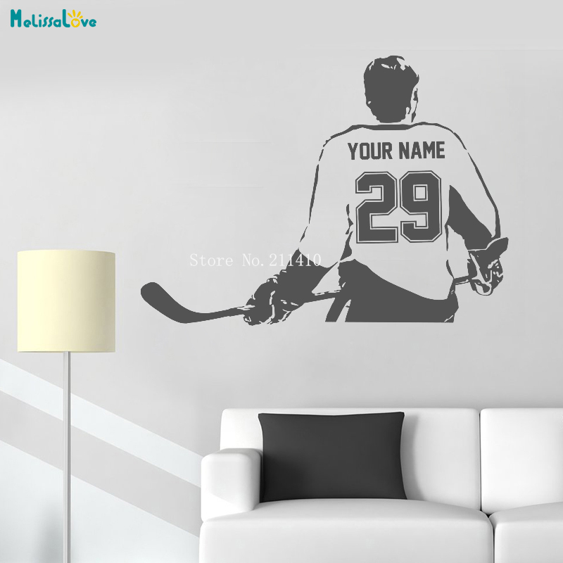 Sports Choose Your Name and Number Personalized Custom Hockey Player Wall Decal Vinyl Sticker Home Decoration Boy Gifts YT994 1