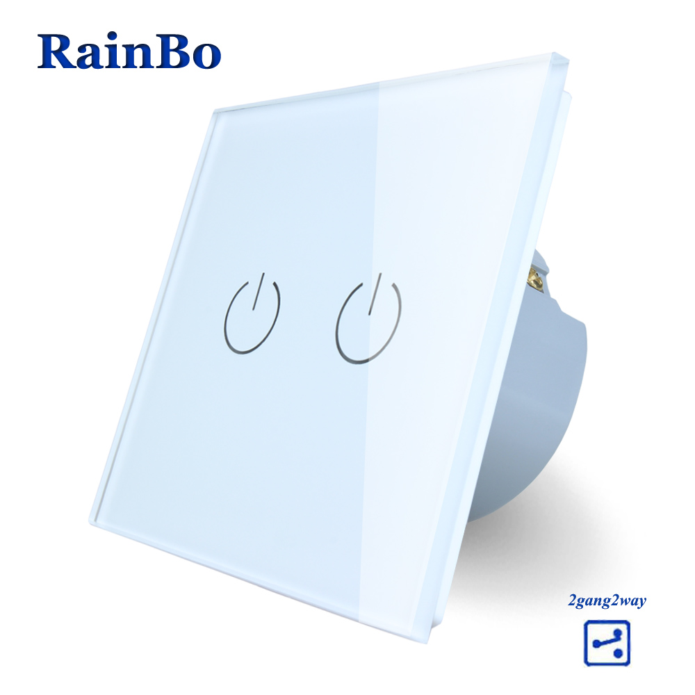 RainBo Touch Switch Screen  Crystal Glass Panel wall switch EU Standard 110~250V  Light Switch 2gang2way for LED Lamp A1922W/B eu plug 1gang1way touch screen led dimmer light wall lamp switch not support livolo broadlink geeklink glass panel luxury switch