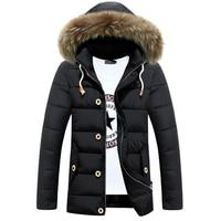 Лидер продаж зимняя куртка Для мужчин хлопка с капюшоном меховой воротник теплые куртки Для мужчин S Повседневное толстые пальто Большие Ра...