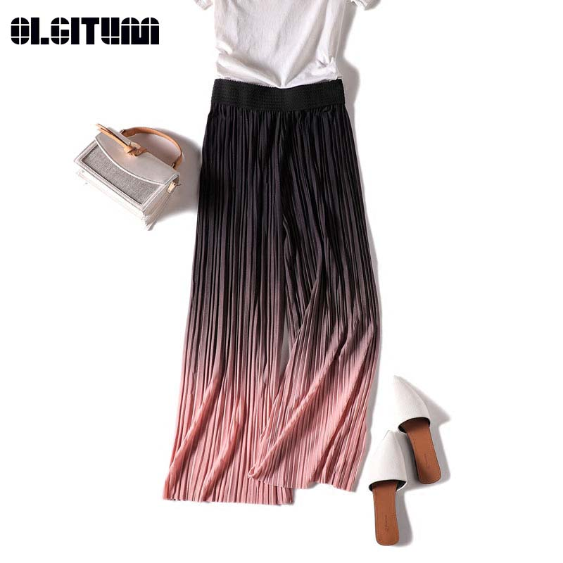 New 2019 Chiffon   Wide     Leg     Pants   Female Summer Pleated Korean Students Nine Points High Waist Loose Straight   Pants   PT250