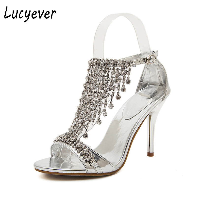 Lucyever 2017 Summer Women's Luxury Rhinestones Sandals Sexy Elegant Thin High Heels Wedding Party Shoes Woman Gold Silver