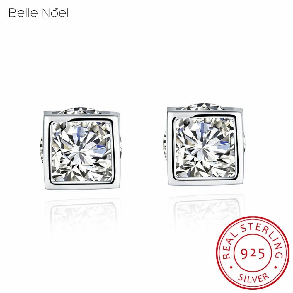 Belle Noel 100% 925 Sterling Silver Asscher Cut Square With Aaa Cz Stud  Earrings In