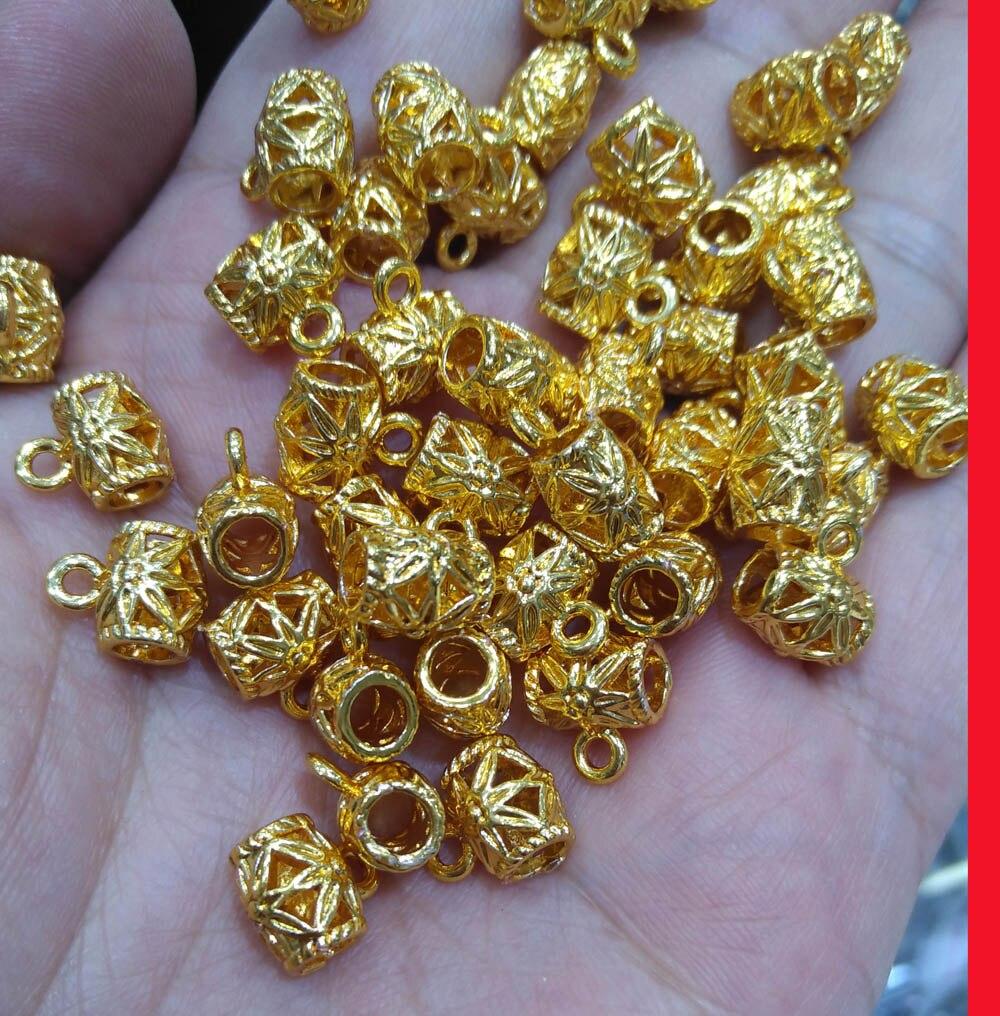 50 pièces de Laiton Plaqué Or Baril avec Anneau entretoise perles Connecteur bricolage 8x12mm