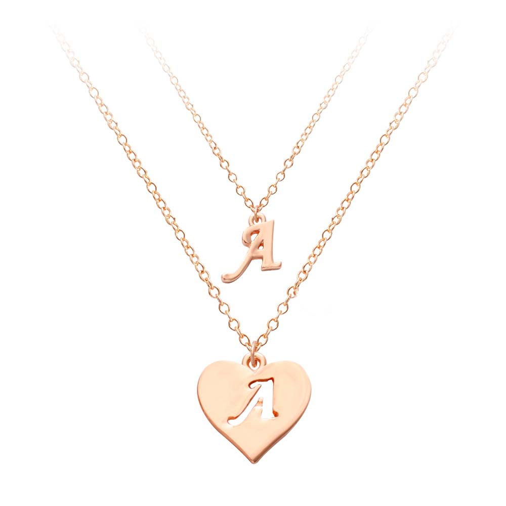 Rose Gold Two Layers Letter Necklace Pendant Heart Shape 26 Alphabet English Letter Collares Three color Custom Pendant Necklace letra g bem bonita