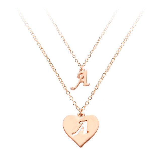 Rose gold two layers letter necklace pendant heart shape 26 rose gold two layers letter necklace pendant heart shape 26 alphabet english letter collares three color mozeypictures Images