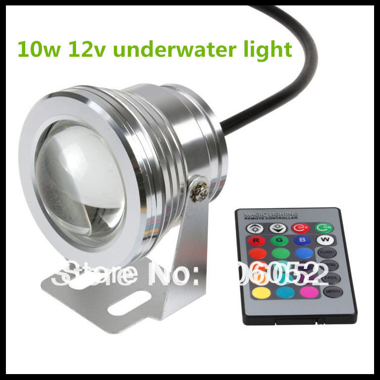 10W 12V underwater RGB Led Light Waterproof IP67 fountain pool Lamp 16 color change with 24key IR Remote controller