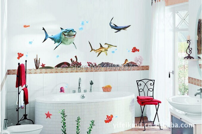 XY8078 Free Shipping Kidu0027s Nemo Shark Sticker Waterproof Wallpaper For Bathrooms  Shower Glass Door Wall Decal Part 48