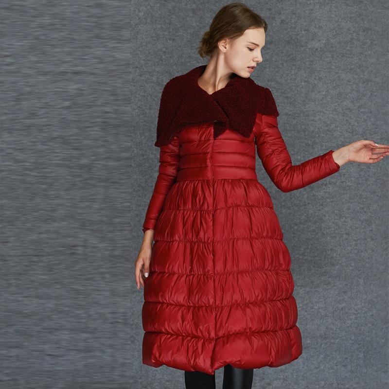 New Arrival Elegant Spring Winter Women   Down     Coats   Parka Warm Fur Collar Extra Long Skirt   Down   Jackets Female Outwear AO027