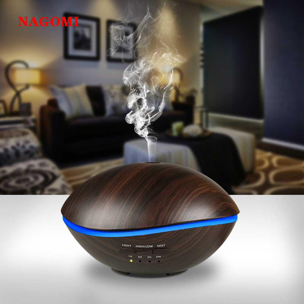 500ML Air Ultrasonic Blue Whale Humidifier Wood Grain Aromatherapy Essential Oil Diffuser With 7 Color LED Light For Home|Humidifiers| |  - title=