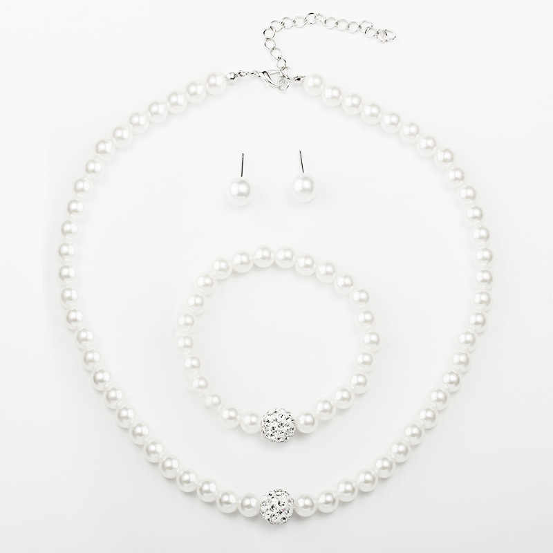 Women Jewelry Sets Inlay CZ Bride Set Women Wholesale Jewelry Europe Brand Simulated-Pearl Necklace Bracelet Earrings