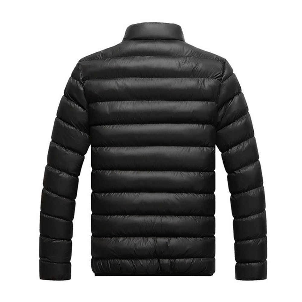 남성 두꺼운 코튼 재킷 파카 슬림 컷 따뜻한 패딩 코트 스탠드 칼라 남성 바람 차단기 겨울 의류 특대 M-4L
