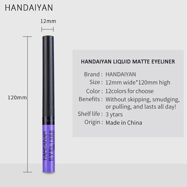 HANDAIYAN Colorful Eyeliner Pencil Eyes Cosmetics Brown Liquid Eye Liner Pen Makeup Color Eyeliners Waterproof Felt-tip Eyliner 5
