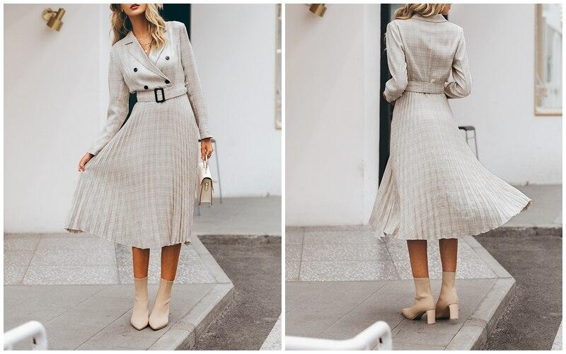 Affogatoo Elegant button belt Plaid women blazer dress Sexy v-neck pleated office ladies dress Long sleeve female party dresses 7