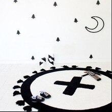 90*90cm Children Kids Boys Girls Cross Pattern Knitting Cotton Baby Toy Climb Pay Mat Round Cotton Rug Carpet For Kids Blanket