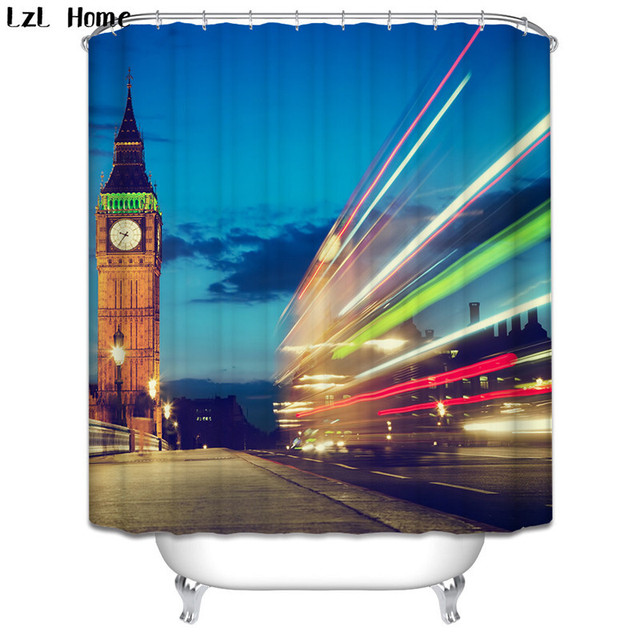 Scenery 3d Waterproof Shower Curtain London Big Ben Fabric Bathroom Lighthouse Bath Hooks Christmas