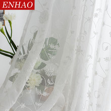 ENHAO Europe White Curtains Window Tulle Curtains for Living Room Bedroom Transparent Voile Sheer Curtains for Window Drapes
