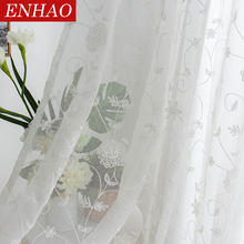 ENHAO Europe White Curtains Window Tulle Curtains for Living Room Bedroom Transparent Voile Sheer Curtains for Window Drapes(China)
