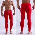Men's Solid Color Underpants Long Johns Pants Thermal Low Rise Underwear M L XL Drop Shipping