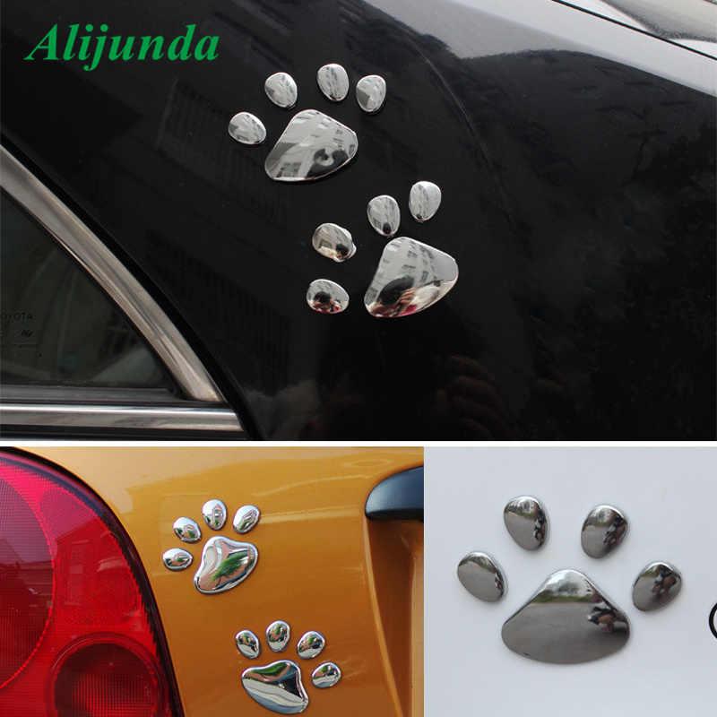 3D Hond Beer Voetafdrukken Chrome Badge Emblem Auto Stickers Decal Hond poot Hond Voetafdruk 3D PVC Voor Subaru Suzuki Toyota