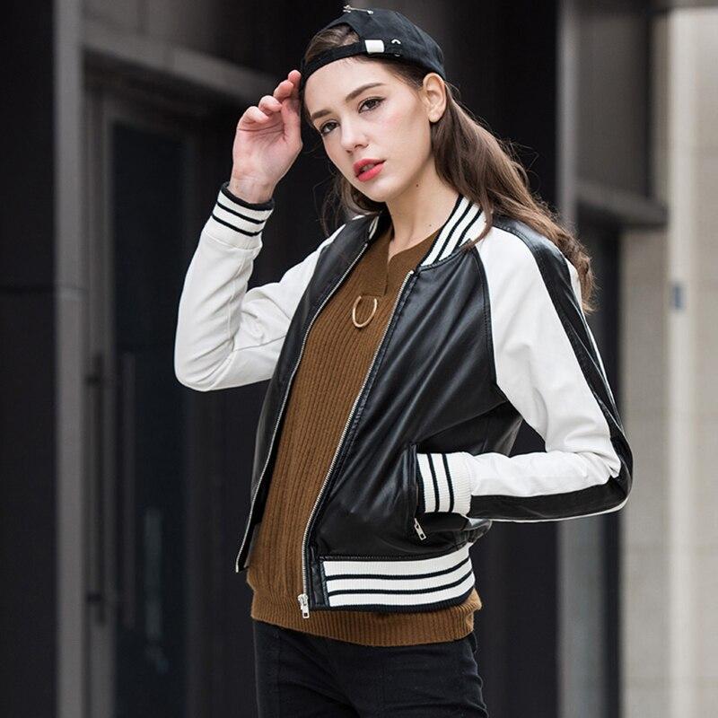Female Short PU Leather Fuax Leather Zipper Jacket Women Slim Stripes Jackets Long Sleeve Washed Coats
