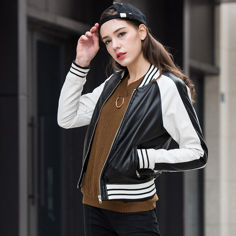 Female Short PU   Leather   Fuax   Leather   Zipper Jacket Women Slim Stripes Jackets Long Sleeve Washed Coats High Street Outerwear