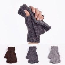 Wool Winter Men Women Gloves Knitted Stretch Elastic Half Fi