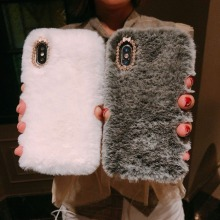 Luxury Fluffy Furry Plush Fur Pink Mobile Phone Case PU27