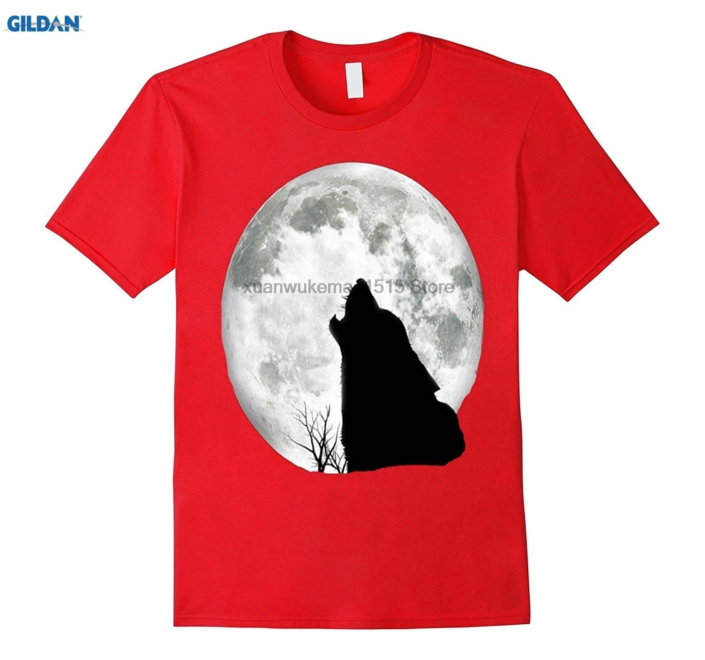 GILDAN 100% Cotton O-neck printed T-shirt Coyote Howling At The Full Moon Gift Shirt