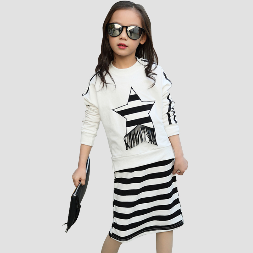 Children Clothing Sets For Girls Outfits Cotton Long Sleeve T-Shirts & Striped Skirts Casual School Kids Hoodies 4 8 10 12 Years