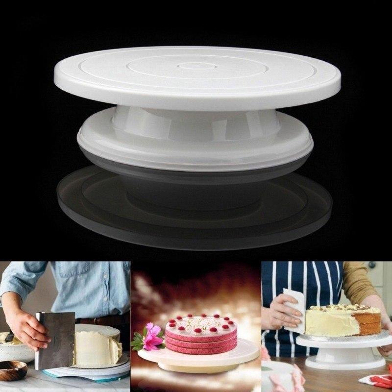 Plastic PP Kitchen Cake Decoration Icing Platform Cake Turntable Stand Round Rotating Swivel Cake Board