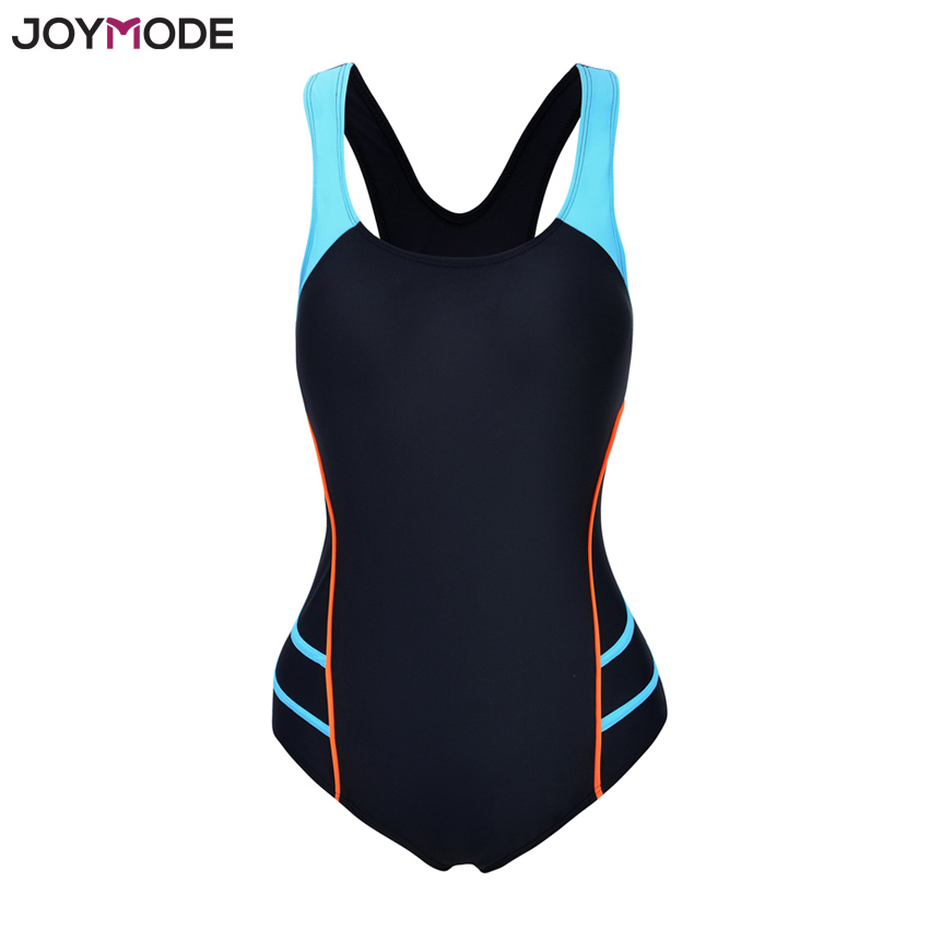 JOYMODE Multicolored Swimwear Women Hollow Out Back Plus Sizes Swimsuits Sports One Piece Bathing Suit Backless Splice Bodysuit